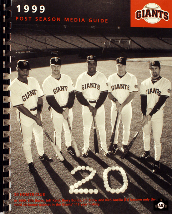 ellis burks, jeff kent, barry bonds, jt snow, rich aurilia, sf giants, photo, 1999 post season media guide,