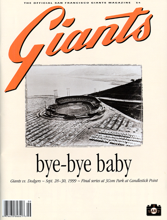 sf giants yearbook, magazine, scorecard, baseball, 1999, candlestick park, bye-bye baby