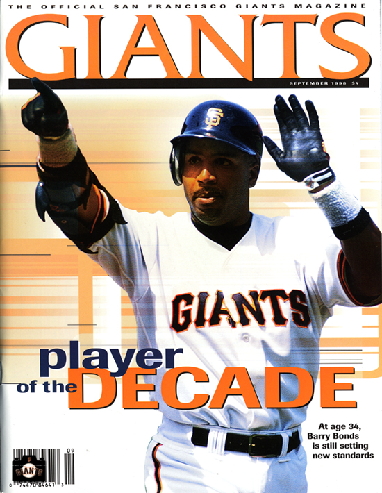 sf giants yearbook, magazine, scorecard, baseball, 1999, barry bonds, player of the decade