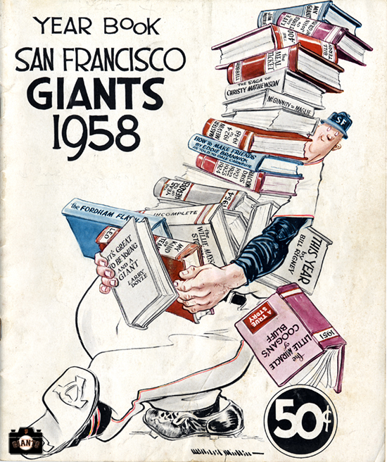 sf giants yearbook, magazine, scorecard, baseball, jint, 1958, williard mullin