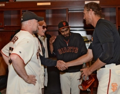 2014, sf giants, photo, june 7, stan lee, michael rocker, sergio romo, javier lopez, first pitch, hunter pence, michael murphy, michael morse
