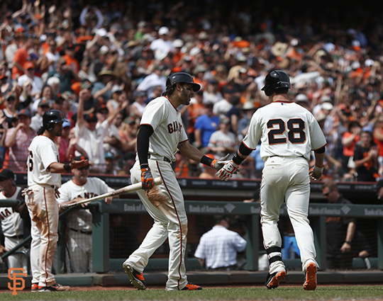 San Francisco Giants, S.F. Giants, photo, 2014, Michael Morse, Buster Posey