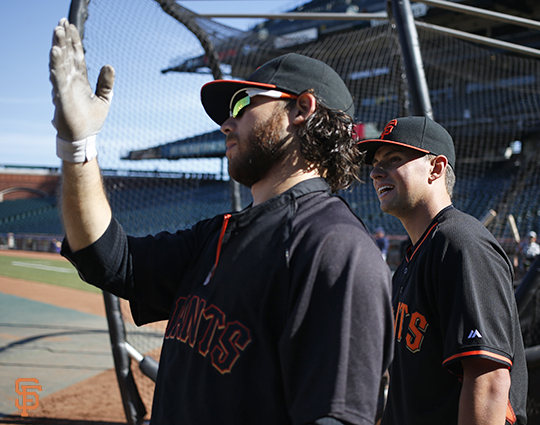 San Francisco Giants, S.F. Giants, photo, 2014, Brandon Crawford, Joe Panik