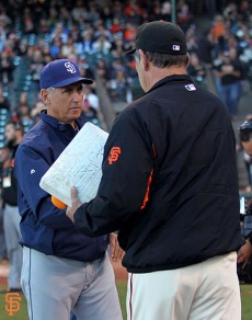 San Francisco Giants, S.F. Giants, photo, 2014, Tony Gwynn, Bud Black, Bruce Bochy