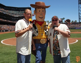 San Francisco Giants, S.F. Giants, photo, 2014, Pixar, Kirk Rueter, Woody, John Lasseter