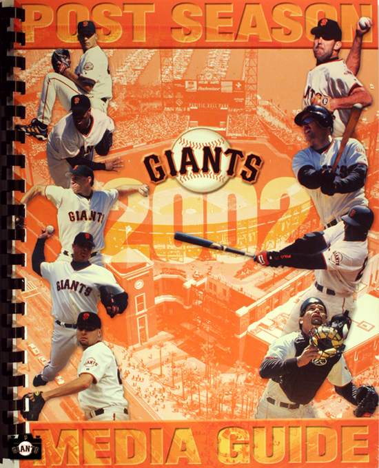 2002 post season media guide, jason schmidt, russ otriz, kirk rueter, robb nen, jeff kent, santiago casilla, barry bonds