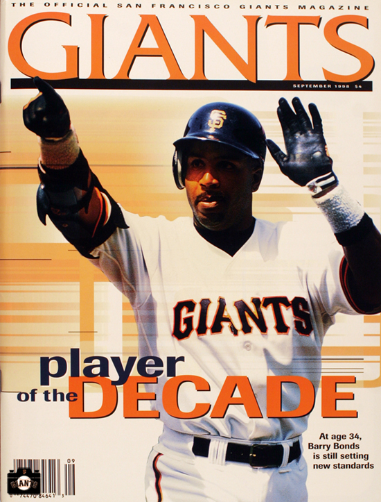 Player of the Decade. barry bonds, giants magazine, 1998