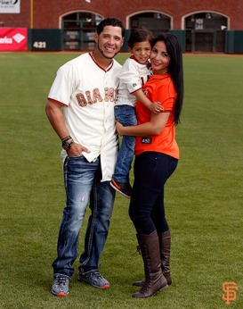 San Francisco Giants, S.F. Giants, photo, 2014, Family Day, Gregor Blanco