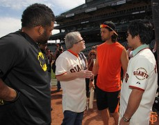 Pablo Sandoval, Freddie Roach, Angel Pagan and Manny Pacquiao
