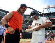 San Francisco Giants, S.F. Giants, photo, 2014, Manny Pacquiao, Angel Pagan