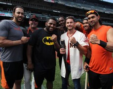 Michael Morse, Will Clark, Pablo Sandoval, Hensley Meulens, Chris Algieri, Hector Sanchez and Angel Pagan