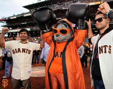 San Francisco Giants, S.F. Giants, photo, 2014, Manny Pacquiao, Lou Seal, Chris Algieri