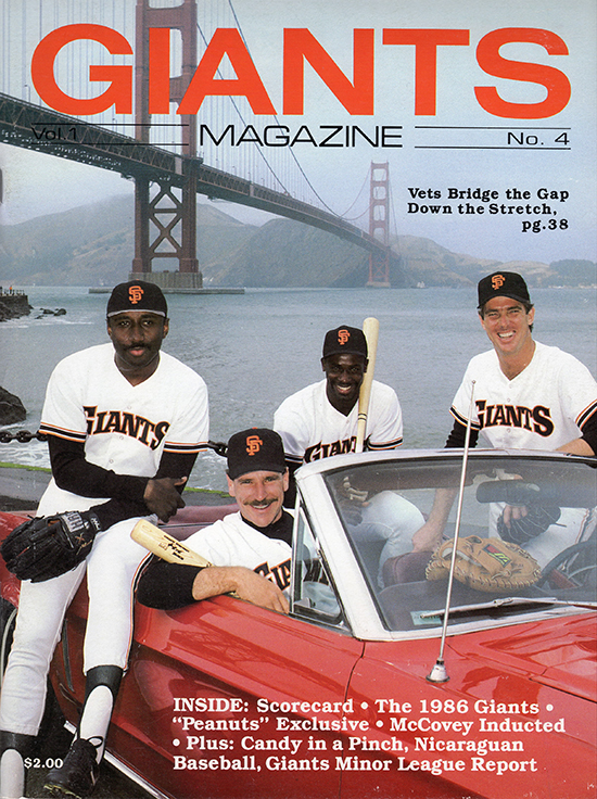 giants magazine, 1986, vets bridge the gap, chili davis, bob brenly, mike krukow, jeffrey leonard