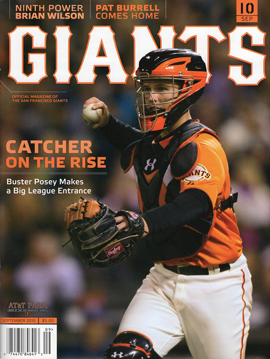 giants magazine, september 2010, buster posey, catcher on the rise