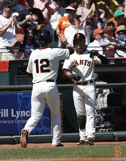 San Francisco Giants, S.F. Giants, photo, 2014, Joe Panik, Gregor Blanco