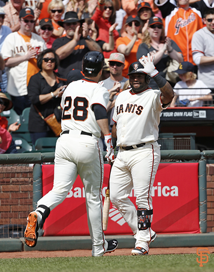 San Francisco Giants, S.F. Giants, photo, 2014, Buster Posey, Pablo Sandoval