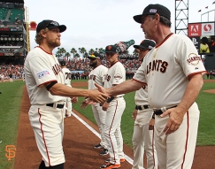 San Francisco Giants, S.F. Giants, photo, 2014, NLCS, Hunter Pence, Bruce Bochy