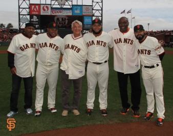 San Francisco Giants, S.F. Giants, photo, 2014, NLCS, Kevin Mitchell, Jean Machi, Dave Dravecky, Yusmeiro Petit, Jeffrey Leonard, Sergio Romo
