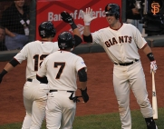 San Francisco Giants, S.F. Giants, photo, 2014, NLCS, Joe Panik, Gregor Blanco, Buster Posey