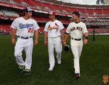 Clayton Kershaw, Matt Holiday and Buster Posey