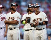 Madison Bumgarner, Brandon Crawford and Joe Panik