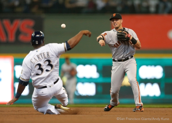 San Francisco Giants against the Milwaukee Brewers at Miller Park in Milwaukee, WI Monday April 4, 2016.