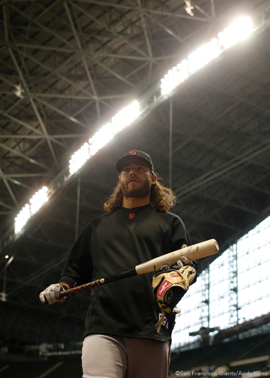 San Francisco Giants Brandon Crawford walks back to the dugout after batting practice. The Giants defeated the Brewers 2-1.