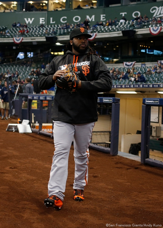 San Francisco Giants pitcher Johnny Cueto walks out the dugout. The Giants defeated the Brewers 2-1.