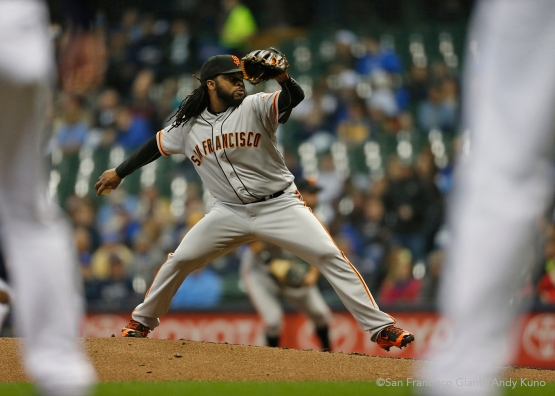 San Francisco Giants pitcher Johnny Cueto pitches against the Milwaukee Brewers in the 2nd inning. The Giants defeated the Brewers 2-1.