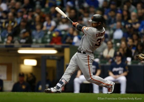 San Francisco Giants Brandon Crawford homers in the 3rd inning. The Giants defeated the Brewers 2-1.