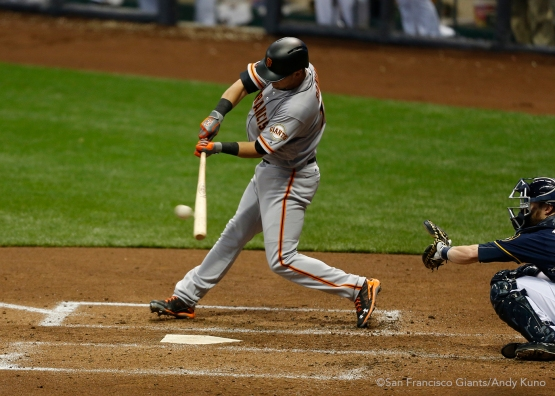 San Francisco Giants Joe Panik singles in the 4th inning. The Giants defeated the Brewers 2-1.