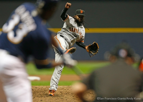 San Francisco Giants pitcher Johnny Cueto pitches against the Brewers in the 4th inning. The Giants defeated the Brewers 2-1.