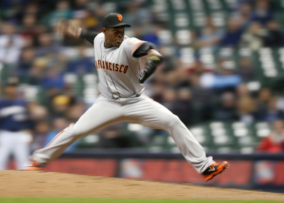 San Francisco Giants pitcher Santiago Casilla pitches in the ninth inning of their 2-1 victory over the Brewers.