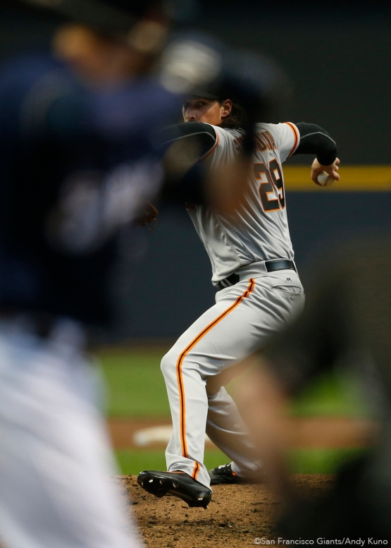 San Francisco Giants pitcher Jeff Samardzija pitches against the Milwaukee Brewers in the 3rd inning.