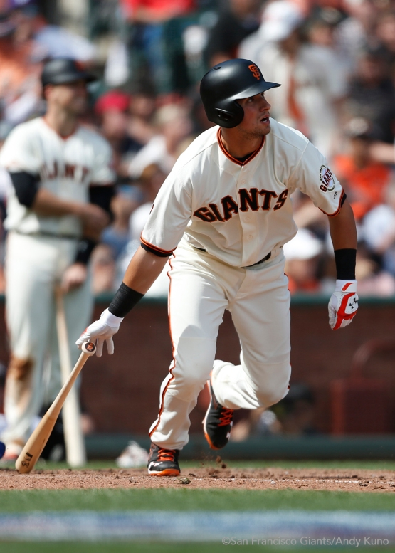 Joe Panik singles during the seventh inning to score Gregor Blanco.