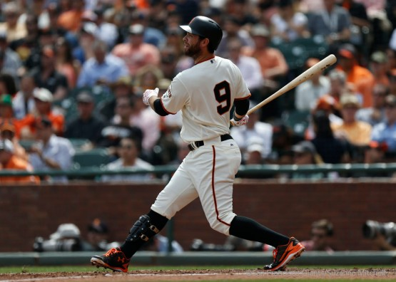 Brandon Belt doubles during the second inning.