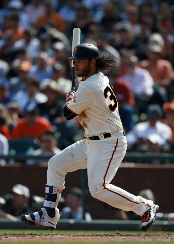 Brandon Crawford singles in the sixth inning.