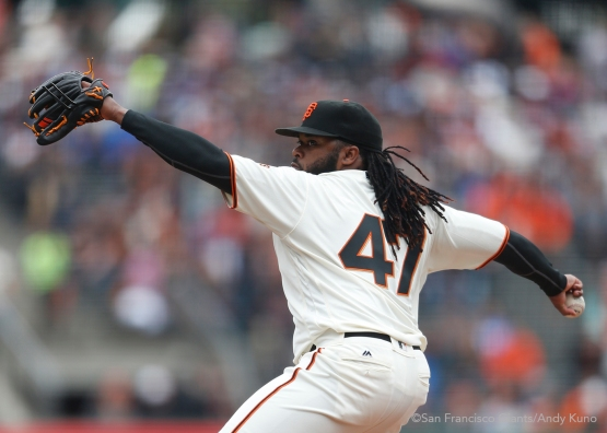 San Francisco Giants pitcher Johnny Cueto throws against the Dodgers in the 1st inning. The Giants defeated the Dodgers 9-6.