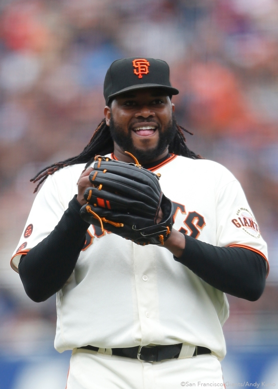 San Francisco Giants pitcher Johnny Cueto smiles during the 3rd inning. The Giants defeated the Dodgers 9-6.
