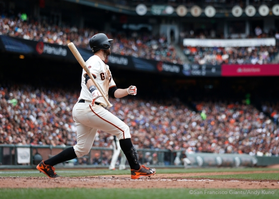 San Francisco Giants Brandon Belt homers during the 3rd inning. The Giants defeated the Dodgers 9-6.