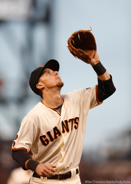 San Francisco Giants third baseman prepares to catch an out during the 3rd inning.