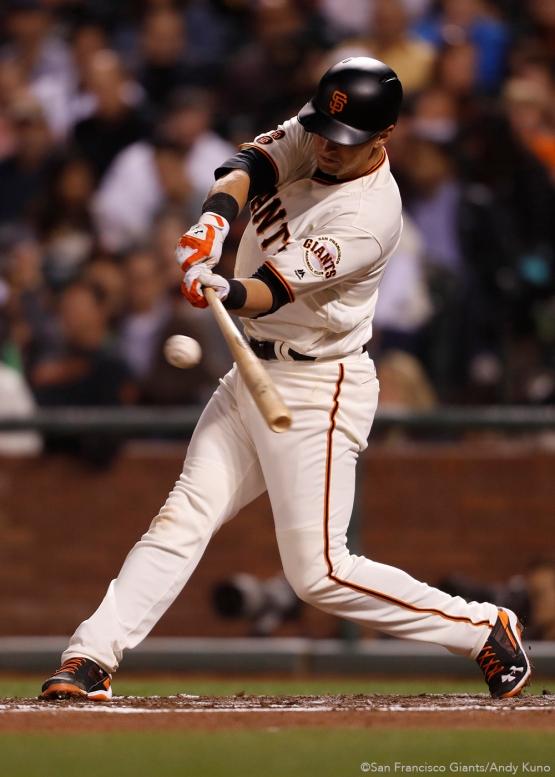 San Francisco Giants Joe Panik singles in the 3rd inning.