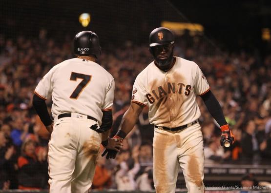 San Francisco Giants Denard Span low 5 Gregor Blanco in the 8th inning.