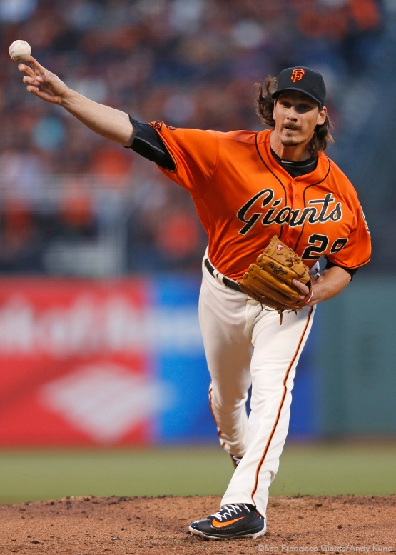 San Francisco Giants pitcher Jeff Samardzija pitches during the 2nd inning against the Marlins.