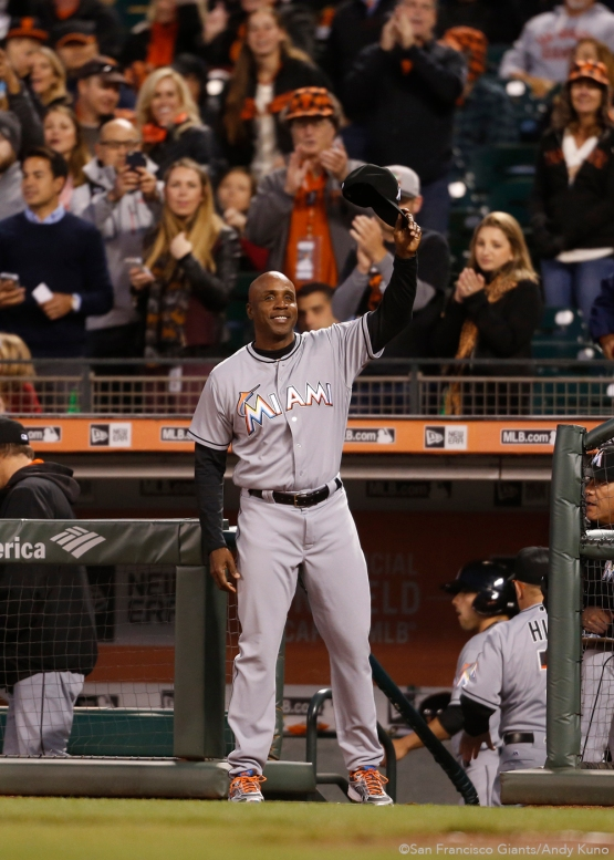 Former Giants Barry Bonds acknowledges the crowd after a video tribute.