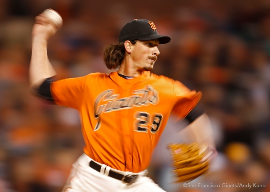 San Francisco Giants pitcher Jeff Samardzija pitches during the 4th inning against the Marlins.