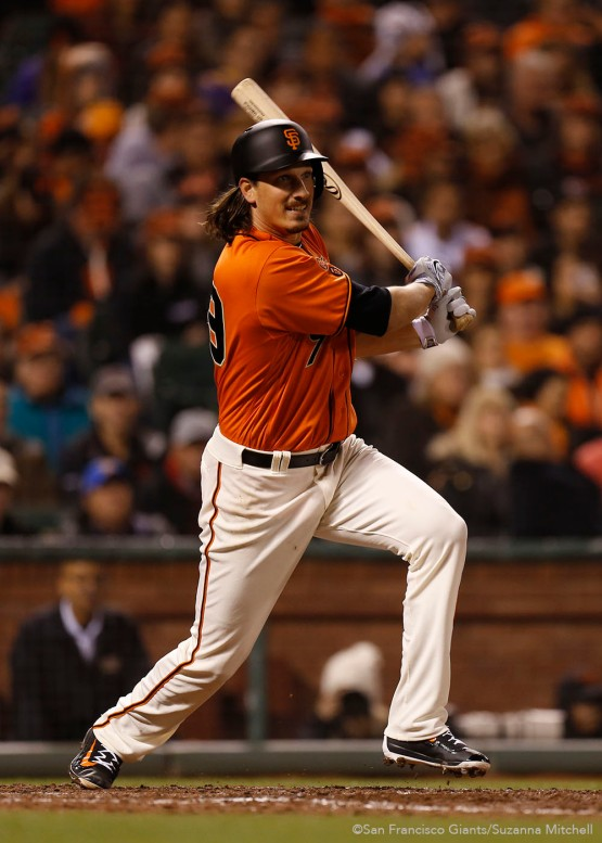 San Francisco Giants Jeff Samardzija knocks in a run during the 5th inning.