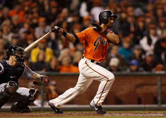 San Francisco Giants Angel Pagan doubles during the 5th 4th inning against the Marlins.