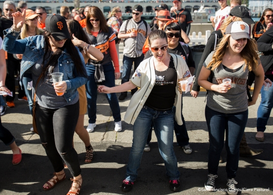 Fans dance to the beat of the music at the Brewfest.