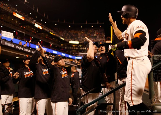 Hunter Pence celebrates after hitting a home run in the fourth inning.